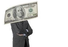 Financial executive with dollar bill isolated on white Stock Images