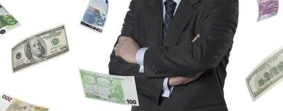 Financial executive with euro and dollar bills Stock Photos