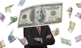 Financial executive with euro and dollar bills Stock Photo