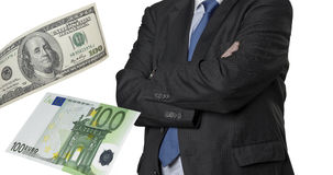 Financial executive with euro and dollar bills Royalty Free Stock Image