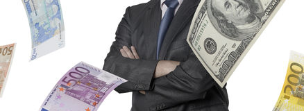 Financial executive with euro and dollar bills Royalty Free Stock Photo