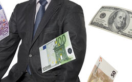 Financial executive with euro and dollar bills Royalty Free Stock Photography
