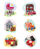 Financial Expenses Icon Set Stock Photography