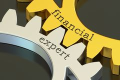 Financial Expert concept on the gearwheels, 3D rendering. Financial Expert concept on the gearwheels, 3D Royalty Free Stock Photography