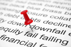 Financial fail. Push pin on fail concept Royalty Free Stock Images