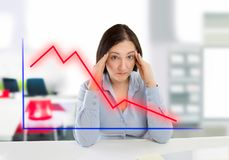 Financial failure. Business woman watching the failure in the world of investments Royalty Free Stock Images
