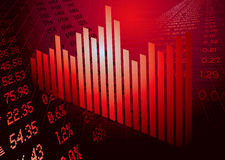 Financial figures graph red. Business inspired financial background with graph and copy space Stock Image