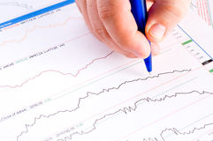Financial figures and pen Royalty Free Stock Photo