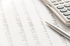 Financial figures and silver pen Royalty Free Stock Photos