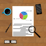 Financial file on wood desk for presentation. Infochart and research diagram document. Vector illustration Stock Photography