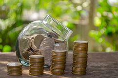 Financial and financial concepts, business forms, silver coins storage. Royalty Free Stock Photo