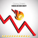 Financial Fireball Going Down. Vector illustration of flaming gold coin falling down with a down arrow graphic Royalty Free Stock Photos