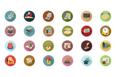 Financial Flat Colored Icons 5 Stock Photos