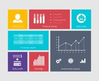 Financial flat elements. Charts and graphs on user interface elements. Financial elements in flat style Royalty Free Stock Images