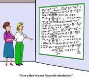 Financial Flaw. Business or education cartoon showing two businesswomen looking at a whiteboard with complex equations, 'I see a flaw in your financial Royalty Free Stock Images