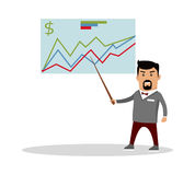 Financial Forecast Concept Vector Illustration. Financial forecast concept vector. Flat design. Economics masterclass illustration. Man with pointer standing at Royalty Free Stock Photo