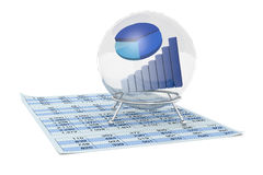 Financial forecasts. One crystal ball with a bar chart and a pie chart inside it and a paper with a spreadsheet, a concept of financial and business forecasts ( Stock Photography