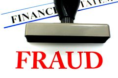 Financial Fraud. Fraud stamp on financial records Stock Photo