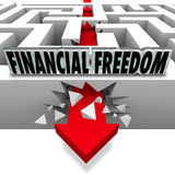 Financial Freedom Break Through Money Problems Bankruptcy Bills. The words Financial Freedom over an arrow breaking through a maze to illustrate solving your Stock Photography