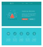Financial freedom  design template for websites and apps. Minimal design web template with header and five icons for financial literacy courses landing pages Stock Images