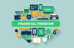 Financial Freedom Vector Illustration. Financial Freedom Flat Design Vector Illustration Business And Passive Income Streams Icons Royalty Free Stock Photo