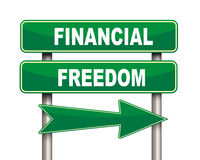 Financial freedom green road sign. Illustration of green arrow and road sign of financial freedom Royalty Free Stock Photo