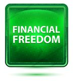 Financial Freedom Neon Light Green Square Button stock illustration
