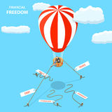Financial freedom isometric flat vector concept. Man is cutting off the ropes with tags: taxes, debt, expense, charges, bills to fly away on his hot air Stock Photos