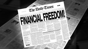 Financial Freedom - Newspaper Headline (Intro + Loops) stock footage