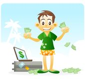 Financial Freedom. passive income. Successful person wearing Hawaiian short and shirt showing money on hand. laptop and luggage in the background Stock Image