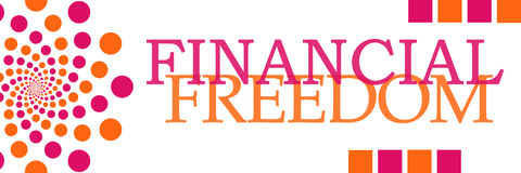 Financial Freedom Pink Orange Dots Horizontal. Financial freedom text written over pink orange background Stock Images