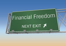 Financial freedom road sign 3d illustration. Financial freedom road sign 3d concept illustration on sky background Royalty Free Stock Images