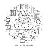Financial Freedom - Round black and white Concept Stock Photography