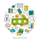 Financial Freedom - Round Line Concept Stock Images