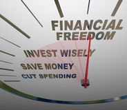 Financial Freedom Speedometer Invesment Savings Money. A speedometer with the words Financial Security, Invest Wisely, Save Money and Cut Spending to illustrate Stock Images