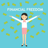 Financial freedom woman standing money rain. Falling vector Royalty Free Stock Photos