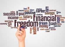 Financial Freedom word cloud and hand with marker concept. On gradient background stock photo