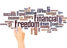 Financial Freedom word cloud and hand writing concept. On white background stock image
