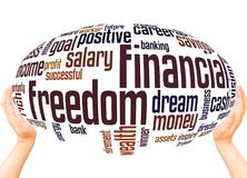 Financial Freedom word cloud sphere concept. On white background stock photos