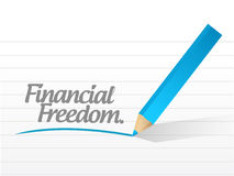 Financial freedom written message illustration. Design over white Royalty Free Stock Images