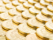 Financial funds. Rows of coins close up Royalty Free Stock Photography