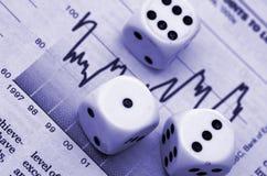 Financial Gamble. Dice and Stock Market Graph Royalty Free Stock Photos
