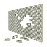 Financial gap. Financial crisis. Wall made of packs of banknotes Royalty Free Stock Photos