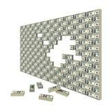 Financial gap. Financial crisis. Wall made of packs of banknotes Royalty Free Stock Photos