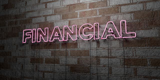 FINANCIAL - Glowing Neon Sign on stonework wall - 3D rendered royalty free stock illustration. Can be used for online banner ads and direct mailers Royalty Free Stock Photo