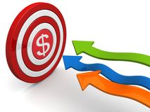 Financial goal and target concept. Arrows aiming dollar sign dartboard targeting concept 3d illustration Stock Photography