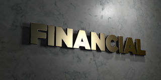 Financial - Gold sign mounted on glossy marble wall  - 3D rendered royalty free stock illustration. This image can be used for an online website banner ad or a Royalty Free Stock Photos