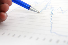 Financial graph. Pen showing on financial graph Royalty Free Stock Photography