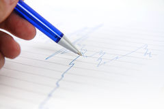 Financial graph. Pen showing on financial graph Stock Images