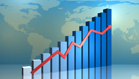 Financial graph. A block graph with growth arrow Stock Image